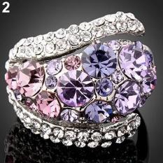 Cincin Titanium Bluelans 9 K Cincin Emas Perhiasan Pernikahan Wanita Ukuran 6-9 A.S. 8 (ungu) -Intl