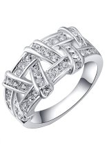 Bluelans® Wanita 9 K Emas Berlapis Berlian Imitasi Menenun Braid Cincin Pernikahan Perak A.s. 7