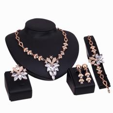 Bluelans® Perhiasan Gelang Wanita Kalung Cincin Anting-anting Membuat Pernyataan Yang Jernih Bagaikan Kristal Yang Jernih
