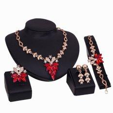 Bluelans® Perhiasan Gelang Wanita Kalung Satu Set Pernyataan Yang Jernih Bagaikan Kristal Cincin Anting-anting Merah