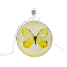 Bluelans® Wanita Butterfly Rantai Perak Kaca Cabochon Bulat Kalung Liontin Kuning