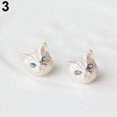 Cincin Titanium Bluelans Kepala Kucing Cantik Desain Ear STUDS Earrings Piercing Jewelry Charm (Silver)