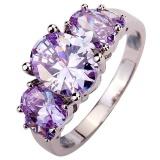 Beli Cincin Titanium Bluelans Oval Light Purple Zircon Tembaga Pertunangan Fesyen Pria Wanita A S 6 10 9 Online
