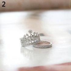 Cincin Titanium Bluelans Queen Crown Pola Set Cincin Berlian Imitasi Dua Potong Perhiasan 7 (Silver)