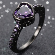 Cincin titanium Bluelans Fashion Mengkilap Zircon Emas Hitam Disepuh Cincin Proposal Pertunangan Perhiasan 9