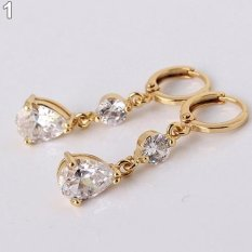Cincin titanium Bluelans Air Drop Bentuk Cubic Rhinestone Dangling Earrings Eardrops (Emas)