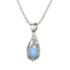 Bluelans® Wanita Hollow Teardrop Night Light Pendant Rantai Logam Kalung Biru