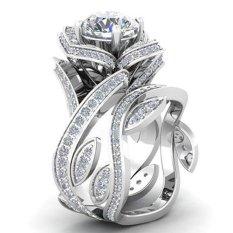 Cincin cantik Bluelans Mawar Berlubang Zirkon Putih Bunga Pernikahan Jari Cincin Ukuran 6-10 6 (#1)