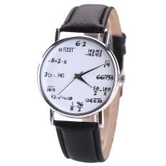 Bluelans® Pria Wanita Hitam Tali Pengikat Putih Dial Jam Tangan Kulit Kuarsa Rumus Matematika