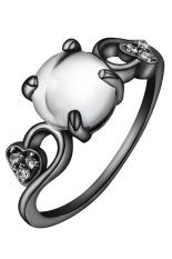 Bluelans® Wanita Opal Cincin Pernyataan Zirkon Berlapis Emas Berlapis Emas Band Perhiasan (putih)