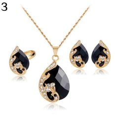 Bluelans Wanita Berlian Imitasi Kalung Liontin Earrings Cincin Pesta Pernikahan Perhiasan Set (hitam)