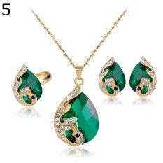 Bluelans Wanita Berlian Imitasi Kalung Liontin Earrings Cincin Pesta Pernikahan Perhiasan Set (hijau)