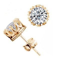 Bluelans® Wanita Berlian Imitasi Berlapis Perak Mahkota Gaya Telinga Anting Stud Emas + Putih