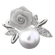 Bluelans® Wanita Rose Faux Pearl Clear Crystal 9 K Emas Berlapis Cincin Perhiasan Perak