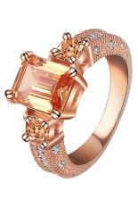 Bluelans® Wanita Zircon Cincin Pernyataan 9 K Emas Disepuh Paduan Rose Gold Plus Champagne US 8