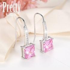 Bo Ruidi Silver Earrings Female Anting Panjang Bagian dari Jepang dan Korea Sintetis Pink Crystal Minimalis Retro Perak Telinga Perhiasan -Intl