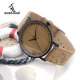 Spesifikasi Bobo Bird E19 Kedatangan Baru Top Quality Round Watch Jam Tangan Es Bamboo Watch Jam Tangan Wajah Dengan Stainless Steel Case Cork Leather Bands Dengan Kotak Hadiah E19 Intl Dan Harga