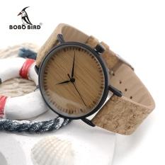 Beli Bobo Bird E19 Kedatangan Baru Top Quality Round Watch Jam Tangan Es Bamboo Watch Jam Tangan Wajah Dengan Stainless Steel Case Cork Leather Bands Dengan Kotak Hadiah E19 Intl Seken