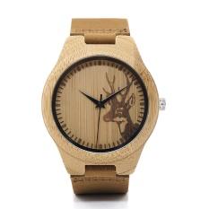 Beli Bobo Bird Wn20 Pecinta Elk Kepala Rusa Bamboo Wooden Watch Jam Tangan Dengan Warna Kulit Asli Tali Untuk Pria Wanita F29 Intl Tiongkok