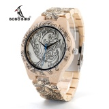 Review Terbaik Bobo Bird Wo07 Mens Pine Wooden Quartz Watch Jam Tangan Es For Men Uv Printing Tattoo Watch Jam Tangan In Wood Box With Tool For Adjust Size O07