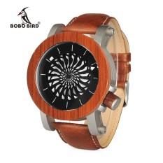 BOBO VOGEL WM20M21 Mechanische Horloge Top Merk Luxe Ebony Rode Houten Horloges voor Mannen Cool Roterende Wijzerplaat - intl