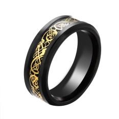 BODHI Men's Punk Dragon Desain Band Titanium Steel Perhiasan Pernikahan Hadiah U.S. 8 (Hitam +