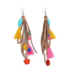 BODHI Multicolor Bahu Duster Earrings Rumbai Pom Pom Flower Statement Jewelry (Coklat)-Intl