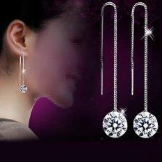 BODHI Women Kubik Zirkonia Berlapis Perak Dangle Rantai Panjang Line Anting Perhiasan-Intl