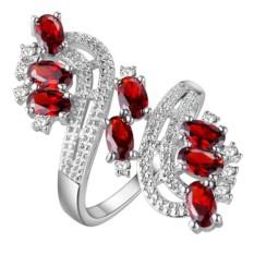 Bodhi Women Zirkonia Kubik Modis Pesta Perjamuan Pernikahan Perhiasan Cincin Pesona Gift U.s. 7 (Merah