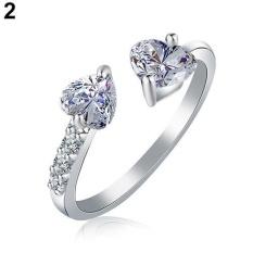 BODHI Women Terbuka Dua Hati CINTA Ring Perhiasan Pengantin Pernikahan Tembaga Zirkon Berkilau (Perak)-Intl