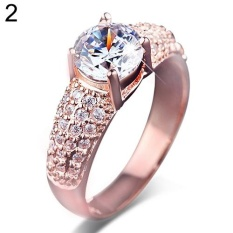 BODHI Women's Deluxe 18K Gold Plated Zircon Ring Engagement Charm Bague Jewelry Us 6-9 US 7 (Rose Gold) - intl
