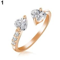 BODHI Women Terbuka Dua Hati CINTA Ring Perhiasan Pengantin Pernikahan Tembaga Zirkon Berkilau (GOLDEN)-Intl