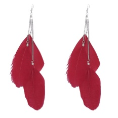 Bohemian Handmade Vintage Feather Long Drop Earrings RD-Intl