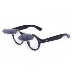 Toko Bolehdeals Vintage Steampunk Goggles Goth Retro Kacamata Bulat Bersandal Ke Cosplay Prop Bright Black Generic Indonesia