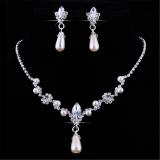 Jual Pesta Pernikahan Bridal Kristal Kalung Mutiara Satu Set Anting Anting Perhiasan Berlian Imitasi Import