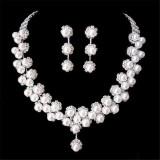 Promo Pernikahan Bridal Kristal Kalung Mutiara Imitasi Prom Perhiasan Satu Set Anting Anting Indonesia