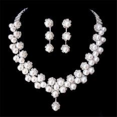 Beli Pernikahan Bridal Kristal Kalung Mutiara Imitasi Prom Perhiasan Satu Set Anting Anting Secara Angsuran