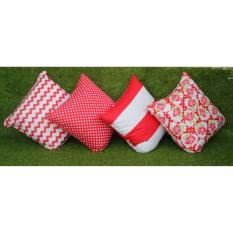 BonBon 4Pcs Bantal Kotak + Sarung Bantal Sofa Mobil - Merah