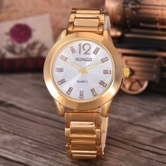 Bonico  Jam Tangan Wanita - Body Gold - White Dial - Gold Band - BNC-8281A-GW-GOLD BAND-CL