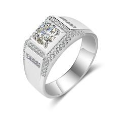 Bos S925 Mewah Penuh Berlian Kebanggaan Persegi Panjang Cincin Berlian Sterling Perak Pria Cincin