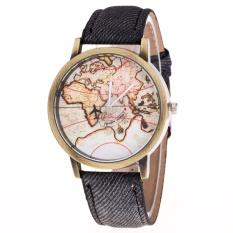 Beli Bounabay Merek Perunggu Tali Denim Logam Dekoratif Rekreasi Pesawat Dunia Peta Kuarsa Watch Intl