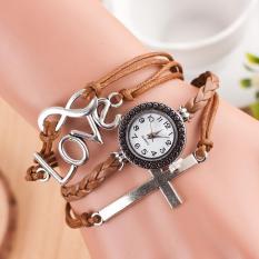 Beli Bounabay Merek Wanita Retro Penebusan Cross Love Soft Leather Strap Quartz Gelang Watch Baru