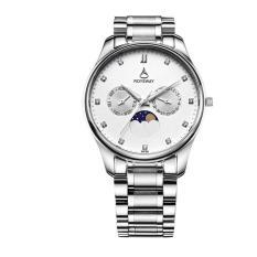 boyun The new moon's steel business Wei Lois multifunction luminous waterproof Mens watch fashion quartz watch (White)