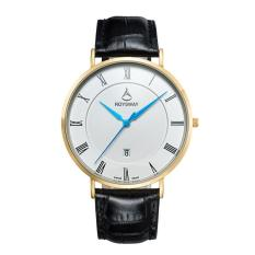 Boyun Baru Ultra Large Dial Mens Asli Wei Lois Stereo Cermin Tahan Air Watch Pria Fashion QUARTZ Watch (goldBlue)