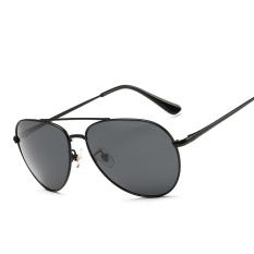 Desain Merek Mewah Fashion Polarized Sunglasses Pria Rhinestone Dekorasi Sun Kacamata Polaroid Lensa UV400 (Hitam)