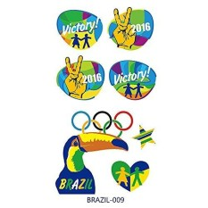 Brazil The Olympic Games Waterproof FDA LFGB Tattoo Stickers Face Against 1PC 09 - intl