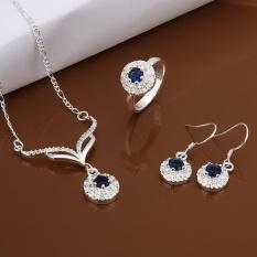 Bridal Perhiasan Online Women Klasik Tembaga Partai Bridal Perhiasan Set Kalung Cincin Anting Round Perak Berlapis-Internasional