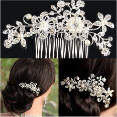 Pernikahan Pengantin Bunga Manik Kristal Klip Rambut Sisir, Jadilah Yang Pertama Mengulas! Diamante Perak
