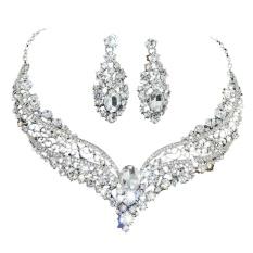 Pengantin Pernikahan Pesta Hadiah Transparan Bening Berlian Buatan Kalung Anting-Anting Satu Set-Internasional