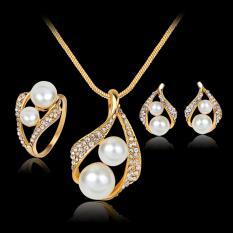 Jual Bridal Pesta Pernikahan Perhiasan Set Crystal Pearl Kalung Earrings Ring Satu Ukuran Intl Lengkap